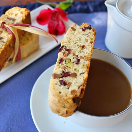 Cranberry, Pistachio and White Chocolate Biscotti | Lea & Jay
