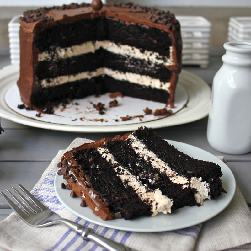 Dark Chocolate Salted Caramel Layer Cake