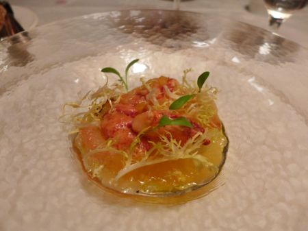 First Course: Lemon-Lime Lobster Largesse -Chilled Maine Lobster with Caramelized Endive and Citrus-Sake Gelee