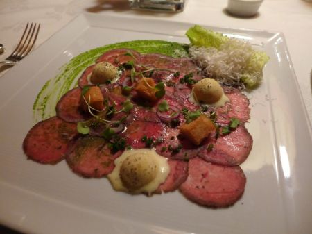 First Course: Carpaccio of Herb Crusted Baby Lamb with Caesar Salad Ice Cream