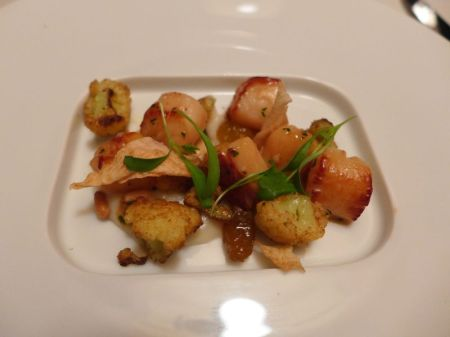 Second Course: Nantucket Bay Scallops Sauteed with Curried Cauliflower, Sultanas and Garlic Chips
