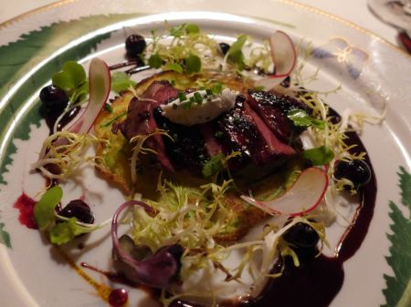 Second Course: Grilled Breast of young Pigeon Marinated in Blueberry Vinegar on a Zucchini Crepe