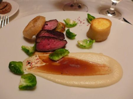 Main course: Blackened Tenderloin of Beef with Bone Marrow Custard, Caramelized Fennel and Fennel Puree