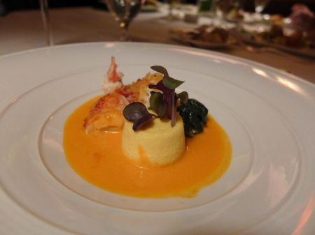 Main Course: Pan Roasted Maine Lobster with Tomato Butter, Garden Spinach and Garlic Custard
