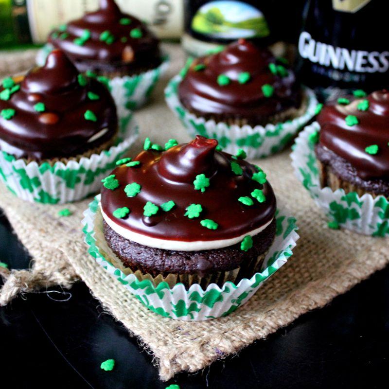 Chocolate Whiskey Dipped Irish Cupcakes