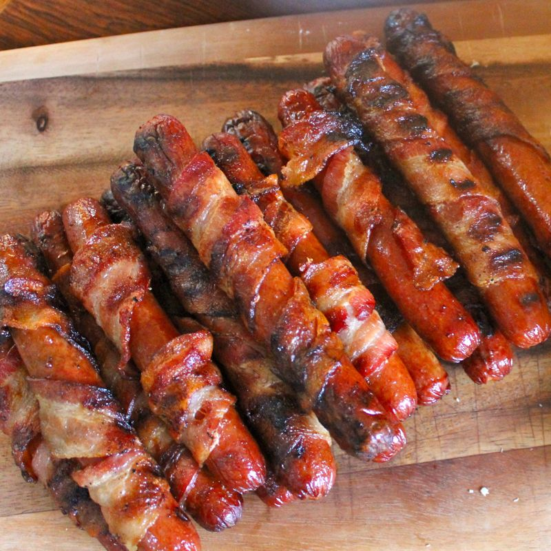 Bacon Wrapped Hot Dogs with Jalapeno/Cilantro Crema on ...