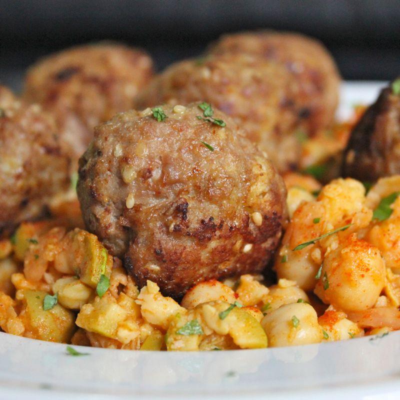 Sesame Spiced Turkey Meatballs Smashed Chickpea Salad Lea Jay