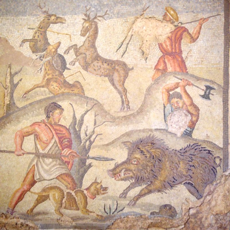 intricate mosaic of hunting scene