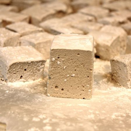 Homemade Marshmallows waiting to be dusted